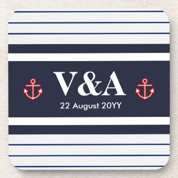 Beach Themed Nautical Marine Navy Blue White Stripes Drink Coaster