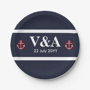 Beach Themed Nautical Marine Navy Blue White Stripes Paper Plate
