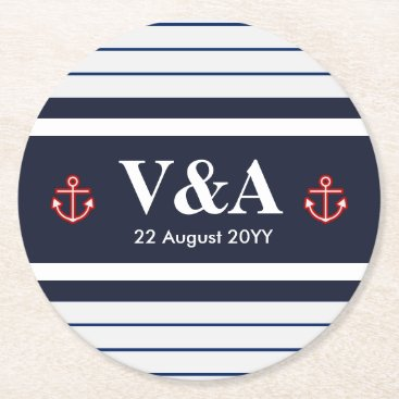 Beach Themed Nautical Marine Navy Blue White Stripes Round Paper Coaster