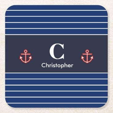 Beach Themed Nautical Marine Navy Blue White Stripes Square Paper Coaster