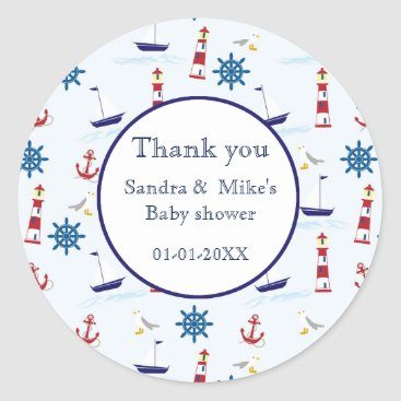 Beach Themed Nautical maritime mix illustration classic round sticker