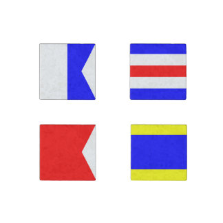Nautical Maritime Sign Flags Letters A, B, C and D Stone Magnet