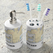 Nautical Martha's Vineyard Latitude & Longitude Bathroom Set