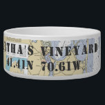 "Nautical Martha&#39;s Vineyard Latitude Longitude Bowl<br><div class=""desc"">For the Nautical Dog in your family, this personalized pet dish shows off his or her &quot;naut-y&quot; side, complete with home town and latitude and longitude pointing the way. This one shows the official NOAA chart featuring the the Martha&#39;s Vineyard region and the latitude and longitude point to the iconic...</div>"