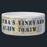 """Nautical Martha&#39;s Vineyard Latitude Longitude Bowl<br><div class=""""desc"""">For the Nautical Dog in your family, this personalized pet dish shows off his or her &quot;naut-y&quot; side, complete with home town and latitude and longitude pointing the way. This one shows the official NOAA chart featuring the the Martha&#39;s Vineyard region and the latitude and longitude point to the iconic...</div>"""