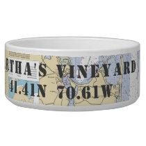 Nautical Martha's Vineyard Latitude Longitude Bowl