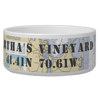 Nautical Martha's Vineyard Latitude Longitude Bowl
