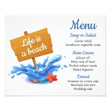 Beach Themed Nautical Menu Blue Beach Ocean Wedding Party