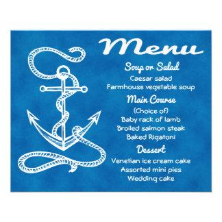 Nautical Menu Ship Anchor Blue Watercolor Wedding