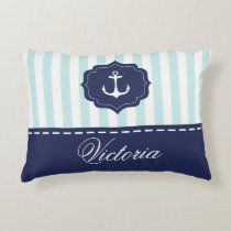 Nautical Mint Navy Blue Anchor Custom Name Accent Pillow