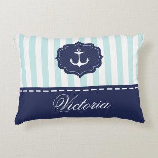 Nautical Mint Navy Blue Anchor Custom Name Accent Pillow