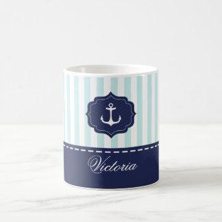 Nautical Mint Navy Blue Anchor Custom Name Classic White Coffee Mug