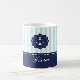 Nautical Mint Navy Blue Anchor Custom Name Coffee Mug