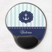 Nautical Mint Navy Blue Anchor Custom Name Gel Mouse Pad