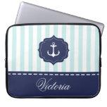 Nautical Mint Navy Blue Anchor Custom Name Computer Sleeves