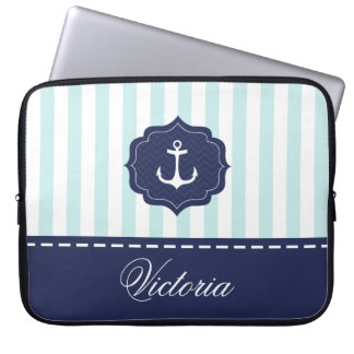 Nautical Mint Navy Blue Anchor Custom Name Computer Sleeves