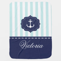 Nautical Mint Navy Blue Anchor Custom Name Receiving Blanket