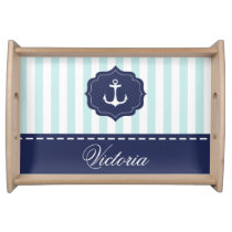 Nautical Mint Navy Blue Anchor Custom Name Serving Tray