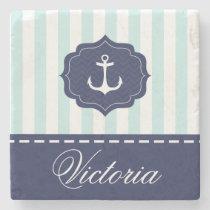 Nautical Mint Navy Blue Anchor Custom Name Stone Coaster