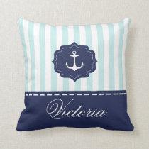 Nautical Mint Navy Blue Anchor Custom Name Throw Pillow