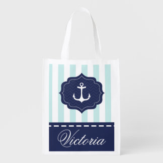 Nautical Mint Navy Blue Anchor Custom Name Market Totes