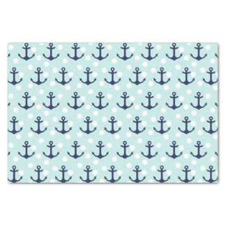 """Nautical Mint Polka Dots And Navy Blue Anchors 10"""" X 15"""" Tissue Paper"""