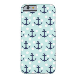 Nautical Mint Polka Dots And Navy Blue Anchors Barely There iPhone 6 Case