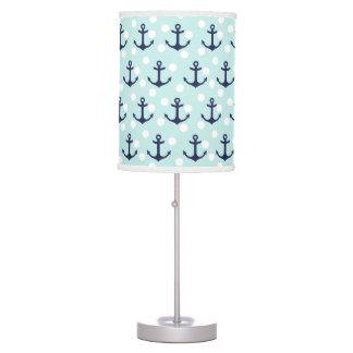 Nautical Mint Polka Dots And Navy Blue Anchors Desk Lamp