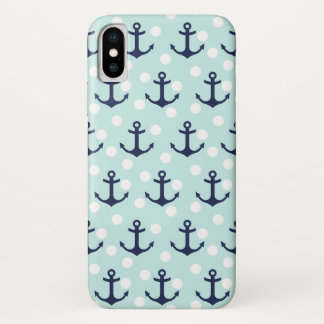 Nautical Mint Polka Dots And Navy Blue Anchors iPhone X Case