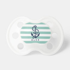 Nautical Mint Stripe Anchor Personalized Pacifier at Zazzle