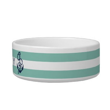 Beach Themed Nautical Mint Stripe & Navy Anchor Personalized Bowl