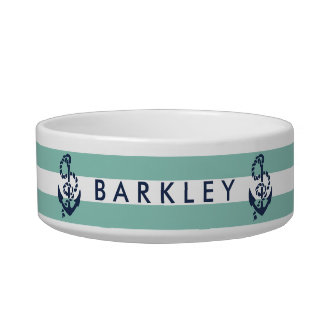 Nautical Mint Stripe & Navy Anchor Personalized Bowl