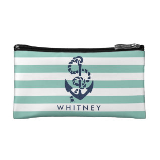 Nautical Mint Stripe & Navy Anchor Personalized Cosmetic Bag at Zazzle