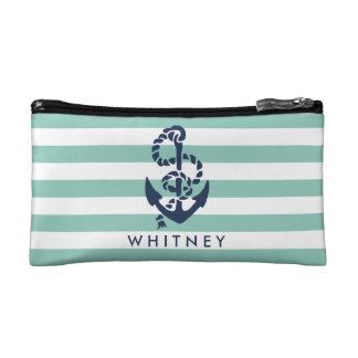 Nautical Mint Stripe & Navy Anchor Personalized Cosmetic Bag