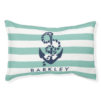 Nautical Mint Stripe Navy Anchor Personalized Dog Bed