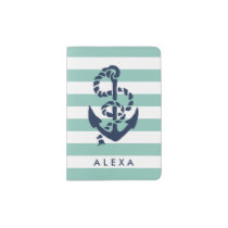 Nautical Mint Stripe & Navy Anchor Personalized Passport Holder