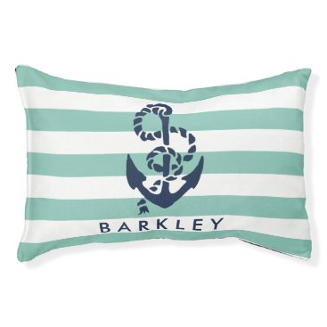 Beach Themed Nautical Mint Stripe Navy Anchor Personalized Pet Bed