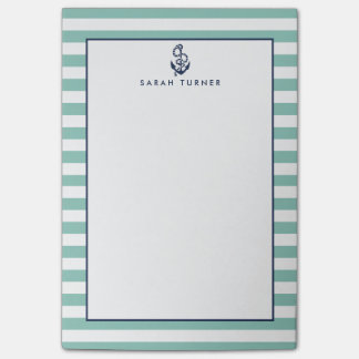 Nautical Mint Stripe & Navy Anchor Personalized Post-it® Notes