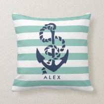 Nautical Mint Stripe & Navy Anchor Personalized Throw Pillow