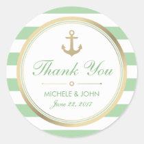 Nautical Mint White Thank You Round Stickers