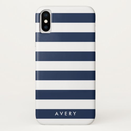 Nautical Modern Navy and White Stripe Personalized Phone Case