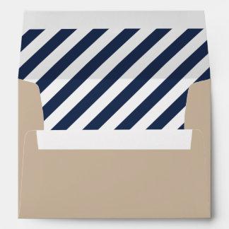Nautical Modern | Tan with Navy Stripe Envelope