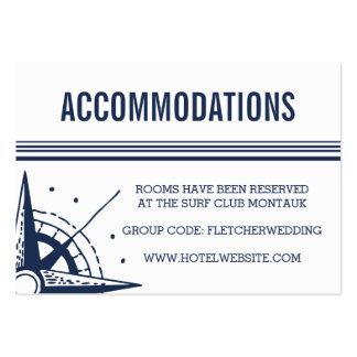 Nautical Modern Wedding Hotel Accommodations Cards Large Business Card