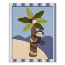 Nautical Monkey Palm Tree Nursery Wall Art Print