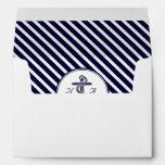 Nautical Monogm Navy Blu Wht Diag Stripe #2 A7 5x7 Envelope