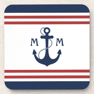 Nautical Monogram Beverage Coaster