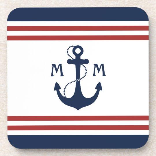 Nautical Monogram Beverage Coaster