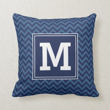 Beach Themed Nautical Monogram Chevron Throw Pillow