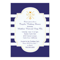 Nautical Monogram Couples Wedding Bridal Shower Card