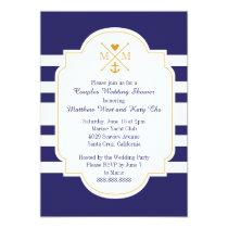 Nautical Monogram Couples Wedding Bridal Shower Card